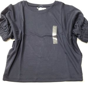 Girl Drape Navy Half Sleeves Cute Uniqlo T-Shirt